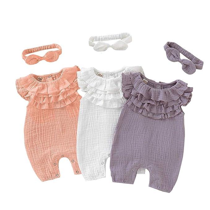 39113306907 Baby Girl Romper Purple Ruffled Harem Jumpsuit Solid Collar Bodysuit for 12  Months Baby Girl +