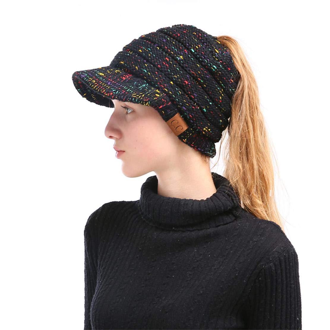 Women's Soft Winter Knitted Hat Visor Brim Warm Beanie Tail Cold Weather Baseball Cap by PiePieBuy