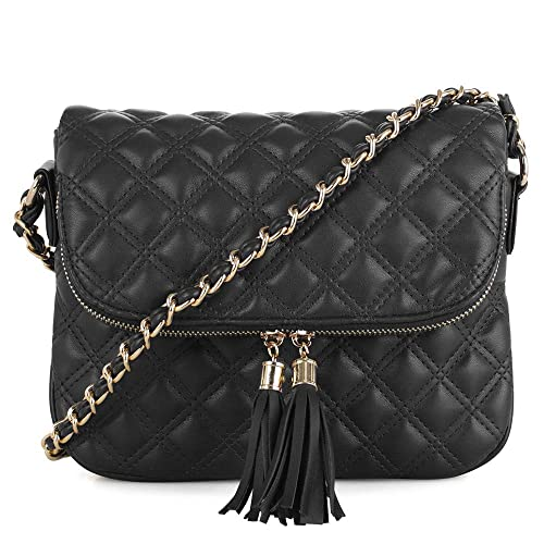 0327508a8 Quilted Pattern Lightweight Medium Fold Over Crossbody Bag with chain strap  | Black