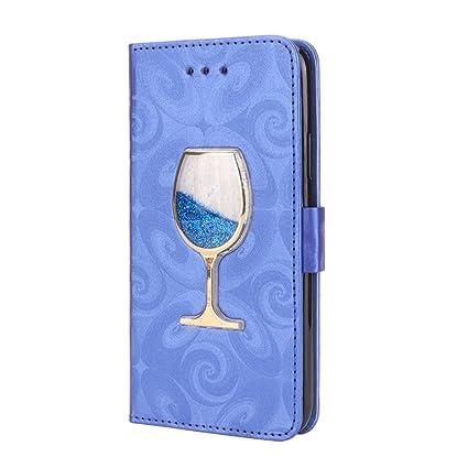 Jesiya Pour IPhone X Coque Verre De Vin PU Cuir Portefeuille Bquille Avec Cartes Visites