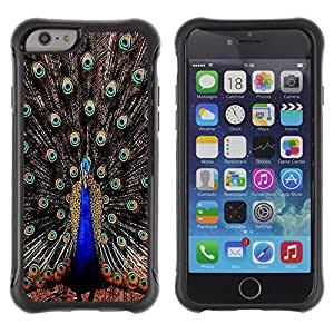 Fuerte Suave TPU GEL Caso Carcasa de Protección Funda para Apple Iphone 6 PLUS 5.5 / Business Style Peacock Feathers Iridescent Blue Bird
