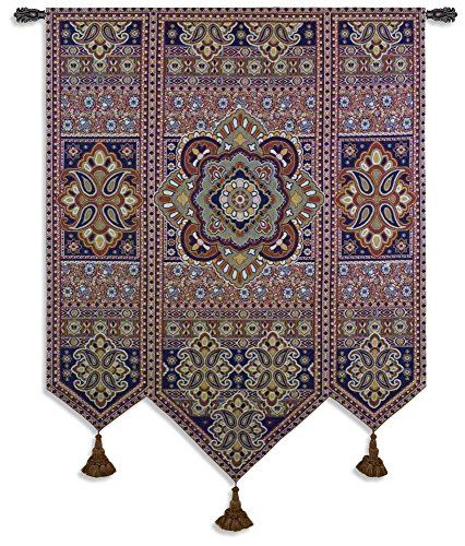 - Masala Anise - Woven Tapestry Wall Art Hanging for Home Living Room & Office Decor - Eastern Pattern Motif Tiled Indian Ornamental Artwork - 100% Cotton - USA 67X53