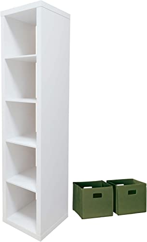 Better Homes and Gardens Home Office Furniture 5-Cube Organizer Storage Bookcase and Durable Storage Bin Bundle