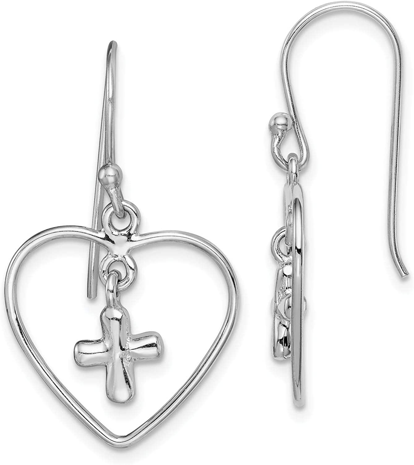 925 Sterling Silver Rhodium-plated Polished CZ Heart Dangle Post Earrings