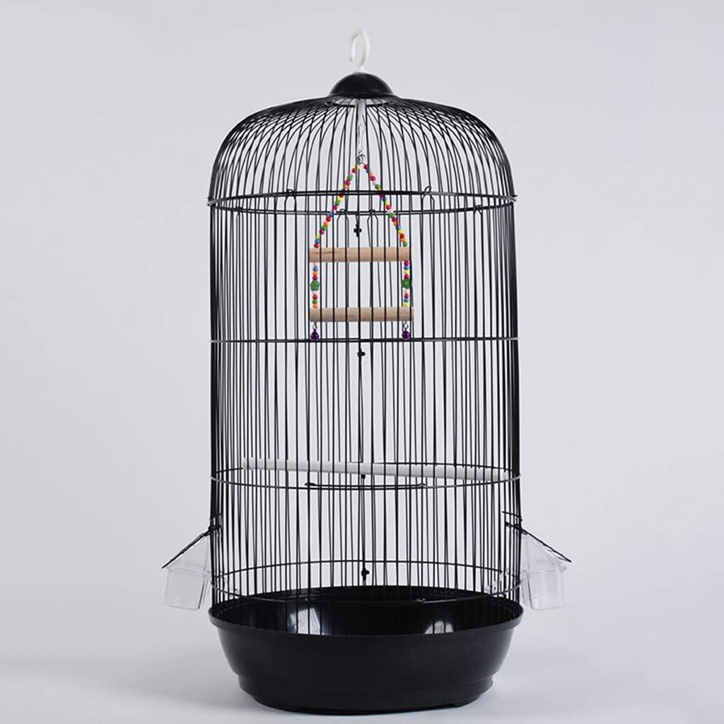 Jaula redonda para pájaros, resistente a la corrosión y al óxido, jaula de metal para pájaros, jaula de loro, color negro