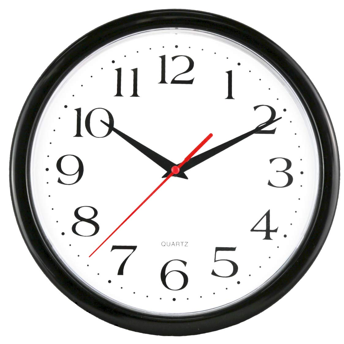 """UrbanWare Large Decorative 10"""" Wall Clock - Quartz Sweep - Easy to Read - Round Black Frame - Battery Operated - White Face - 10 Inch"""