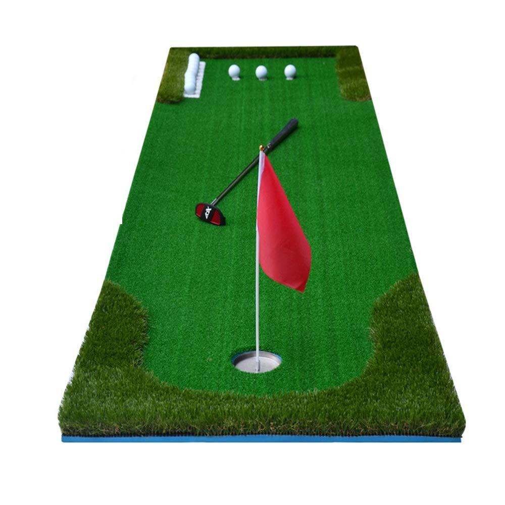 ゴルフマット ゴルフミニ人工グリーンパッティングトレーナー屋内と屋外のゴルフパッティンググリーンゴルフのトレーニングマットを含むグリーンズフラッグアクセサリー 室内グリーン (色 : 緑, サイズ : D) 緑 D
