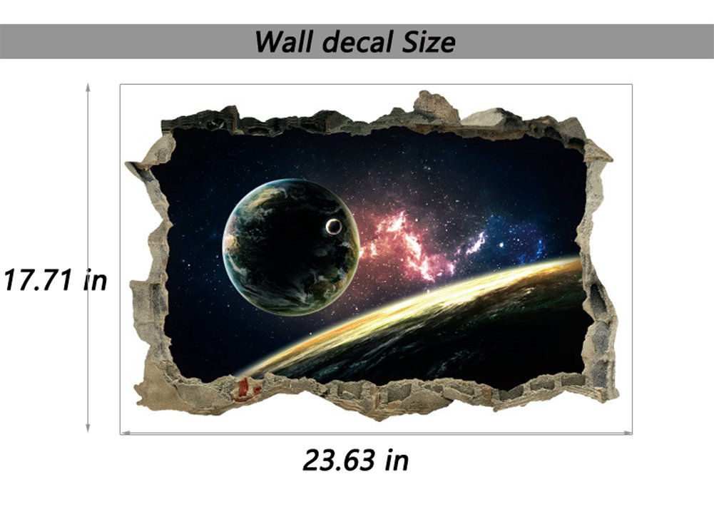 3D Planet Earth Star Wall Decal Solar System Education Space Wall ...