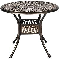 TITIMO 35.4€ Diameter Outdoor Round Patio Bistro Dining Table Cast Aluminum Conversation Table with 2.0€ Umbrella Hole