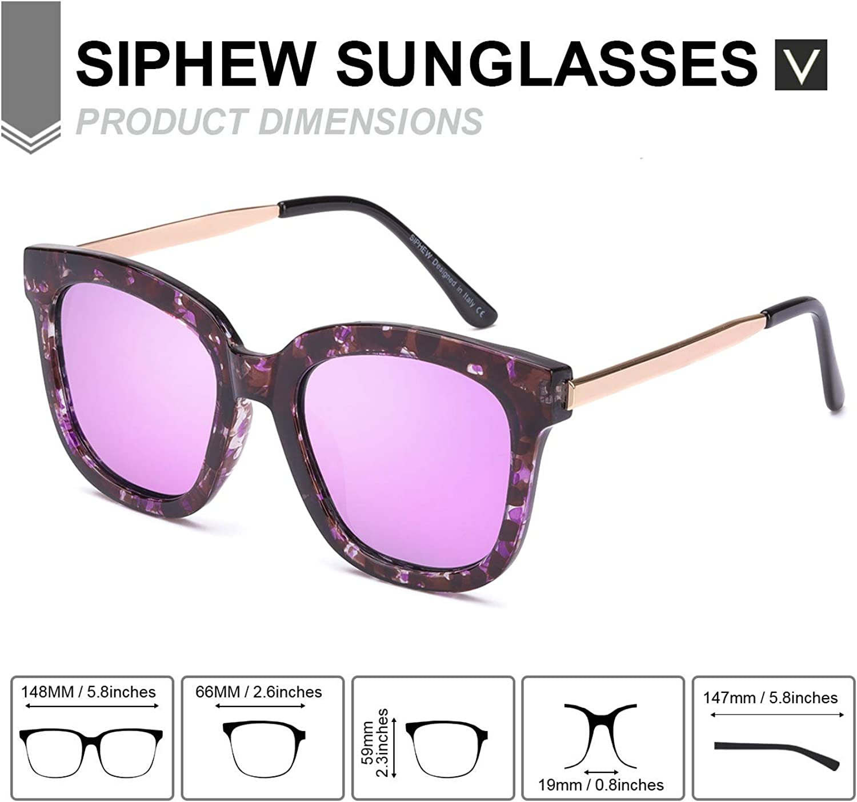SIPHEW Occhiali da Sole Moda Mirror per Donna Occhiali da Sole Oversize Lenti Polarizzate con 100/% Protezione 100/% UVA//UVB