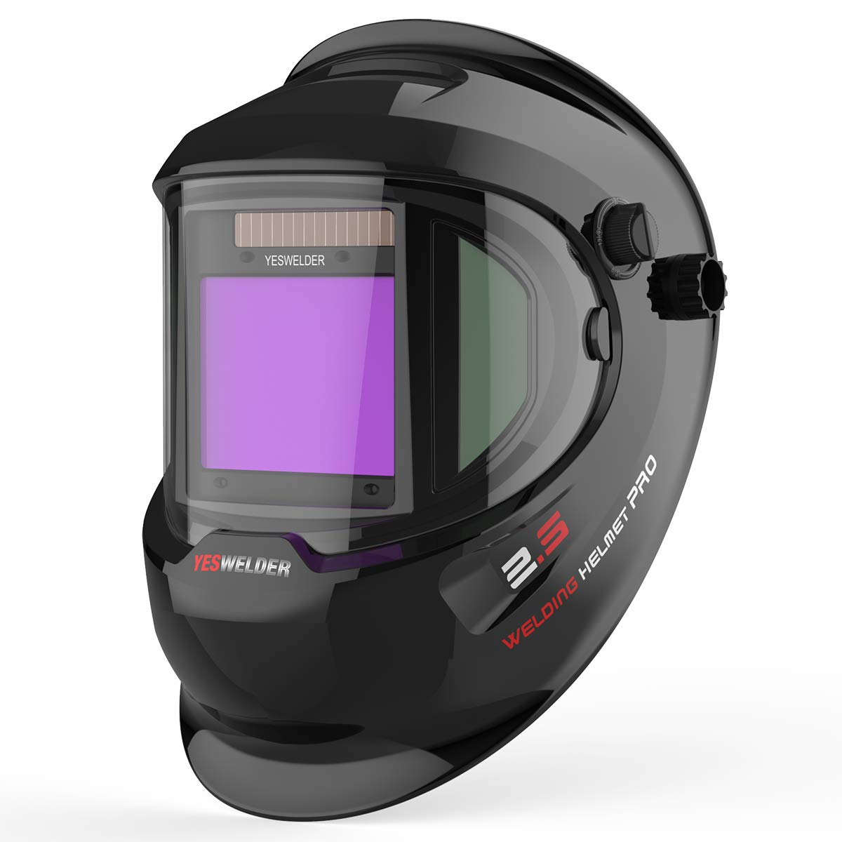 YESWELDER Large Viewing True Color Solar Powered Auto Darkening Welding Helmet with SIDE VIEW, 4 Arc Sensor Wide Shade 4/5-9/9-13 Welder Mask for TIG MIG