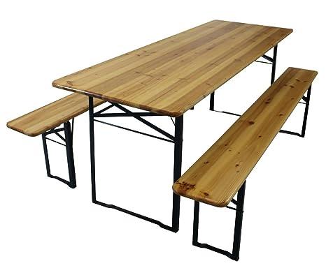 Panche E Tavoli Pieghevoli.Set Tavolo 2 Panche In Legno Cm 220x80x76h Amazon It