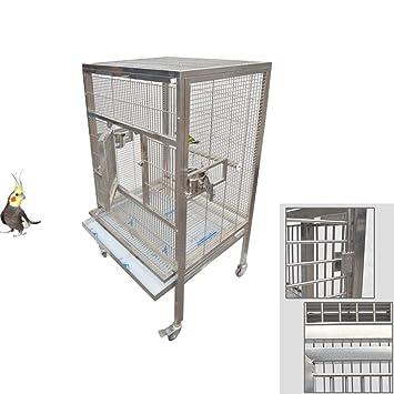DZENJ Rueda de Actividad Universal para Jaula de pájaros para Mascotas, Conveniente para Llevar Jaula de Loro de Acero Inoxidable Grande Desmontable: ...