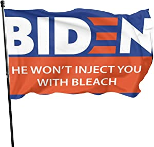 AKANDIS Biden He Won't Inject You with Bleachpeace Protest Outdoor Indoor Banner Pennant Decorative Flags for Home House Garden Yard Decorations with Brass Grommets 3x5 Feet