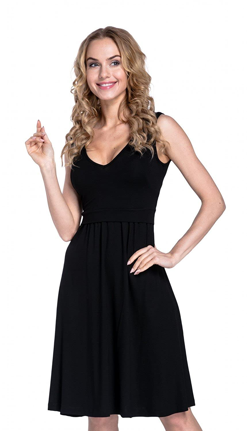 9736960bea3 Happy Mama. Womens Maternity Nursing Layered Skater Dress Sleeveless. 685p  at Amazon Women's Clothing store: