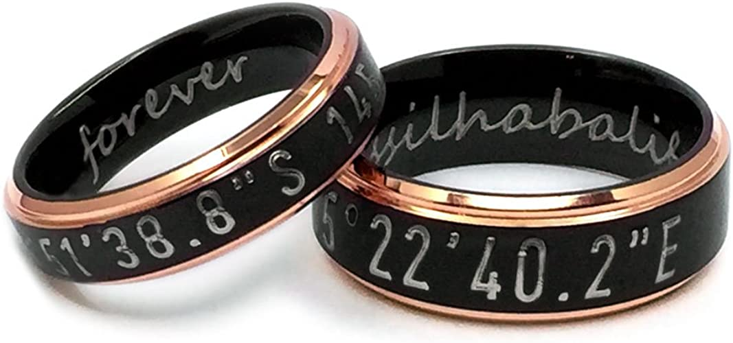 Promise rings for couples Personalized Engraved RingCoordinate RingsBlack Rings SetAnniversary GiftTitanium Rings Set