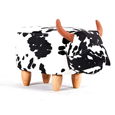 Modern Home Soft Plush Ride-On Stool Ottoman – Spotted Cow