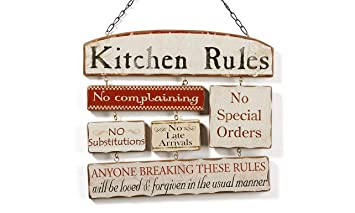 Gift Craft Kitchen Rules Wall Sign