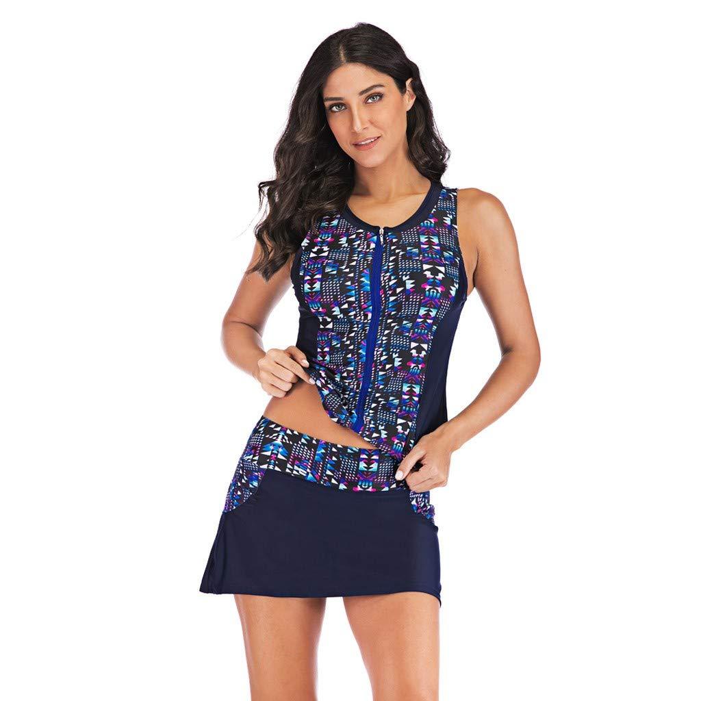 AZZRA Damen 2 Piece Tankini Set Strap Print Badeanzug Tank Top Bikini Swimsuits mit Short