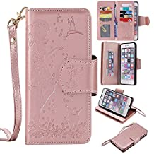 """NEXCURIO [9 Card Slots] 5.5"""" iPhone 6S Plus / 6 Plus Wallet Case with Card Holder Folding Kickstand Leather Case Flip Cover for Apple iPhone 6S Plus / 6 Plus (5.5-inch) (Rose Gold)"""