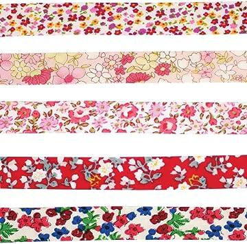 MegaCrea DIY Biais coton 1 cm x 1 m Fleurs bleu jaune 5 pièces