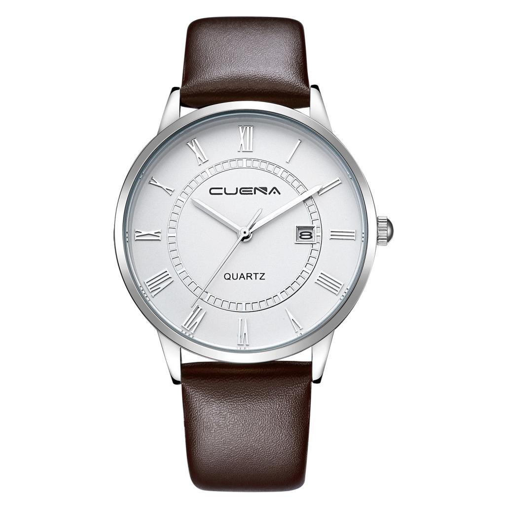 メンズカジュアルウォッチ、Sinmaローマ数字クォーツ腕時計アナログFauxレザーラウンド腕時計 B071KX2PN7 Black gold