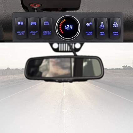 Voswitch Jeep Wrangler 2007-2018 JK /& JKU Overhead 8-Switch Pod//Panel with Control and Source Box Green Backlight
