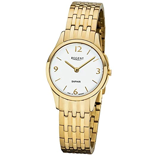 Regent Reloj mujer acero inoxidable goldplattiert Alemania Collection gm1619: Amazon.es: Relojes