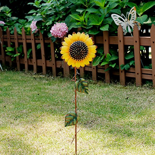 Morning View Sunflower Garden Stake Flower Yard Stake Outdoor Decor Metal Yard Art Sunflower Lawn Decoration (21″)