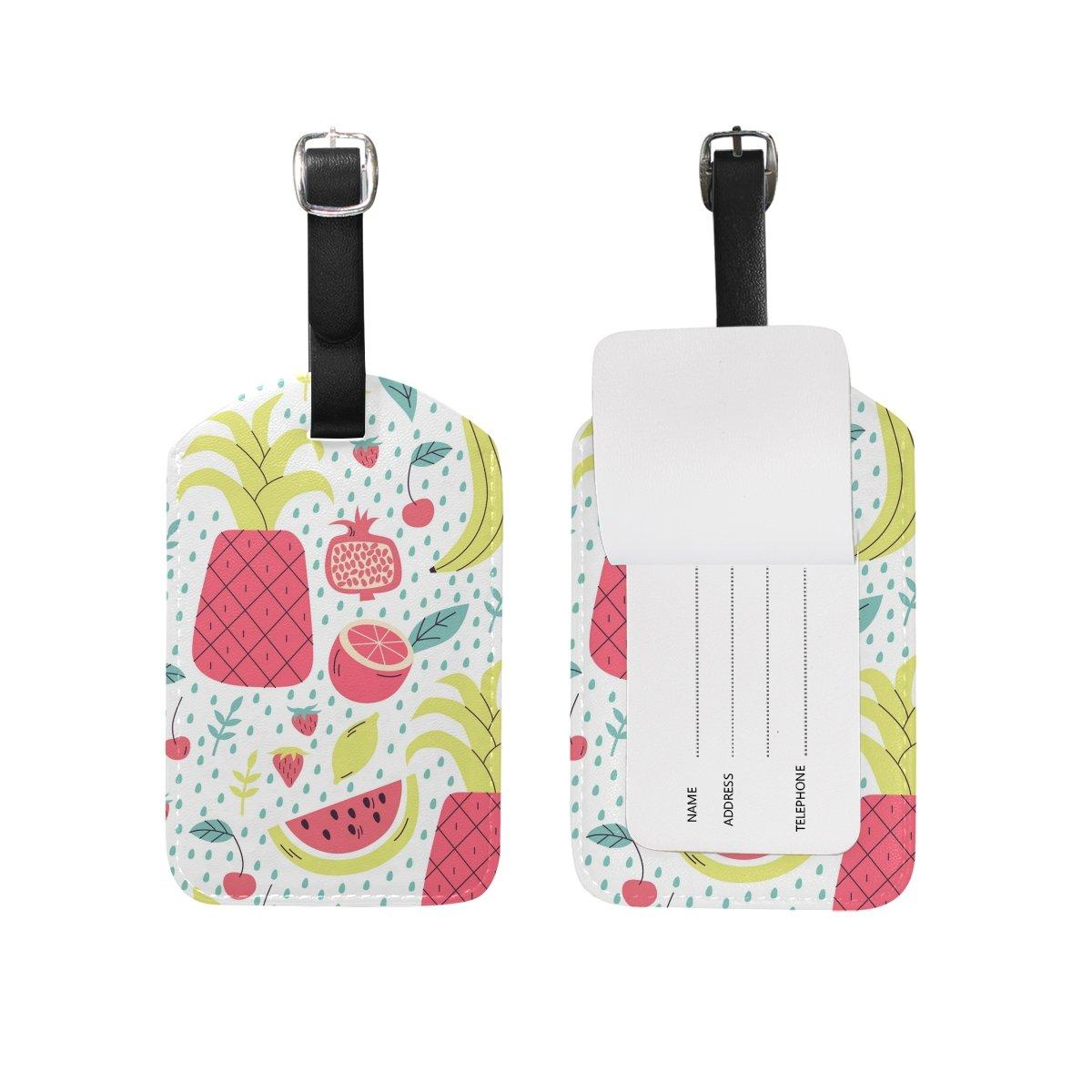 Saobao Travel Luggage Tag Fruit Seamless Pattern PU Leather Baggage Suitcase Travel ID Bag Tag 1Pcs