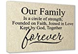FRAMED CANVAS PRINT (Textured Look) Our Family is a circle of strength; founded on faith, joined in love kept by God, together forever (16''x12'') printed wall art plaque home decor sayings quotes