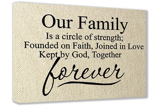 FRAMED CANVAS PRINT (Textured Look) Our Family is a circle of strength; founded on faith, joined in love kept by God, together forever (16''x12'') printed wall art plaque home decor sayings quotes by Sticker Perfect