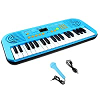 37 Keys Portable Piano Keyboard with Micphone, Electronic Piano for Kids Multi-function Piano Keyboard Educational Toy Organ with Double Speaker for Toddlers Children (Blue)