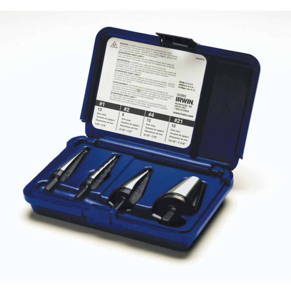 Irwin Industrial Tools 10225 Unibit General Purpose Step Drill Bit Set, 4-Piece