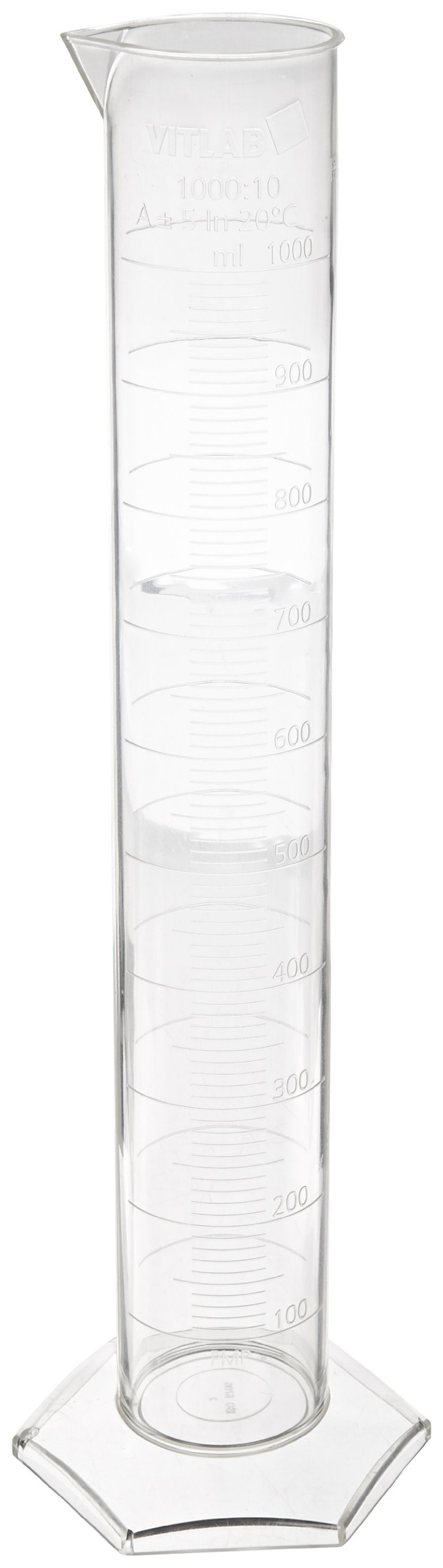 Vitlab Class A Certified Polymethylpentene Graduated Cylinder, 1000ml Capacity