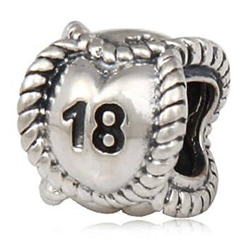 Cumpleaños hitos antiguo 925 plata de ley número 18 cuenta para pulsera de estilo europeo pulsera joyas