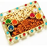 Ghasitaram Color Beads Golden Dryfruit Tray with Diyas 400gm (Multicolour,Rectangle)