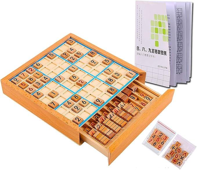AEGILMC Sudoku de Madera Juego de Puzzle, Caja de Juguete Educativo con Cajón Número Cubos Azulejos, Juegos de Mesa para Adolescentes,Woodcolor: Amazon.es: Hogar