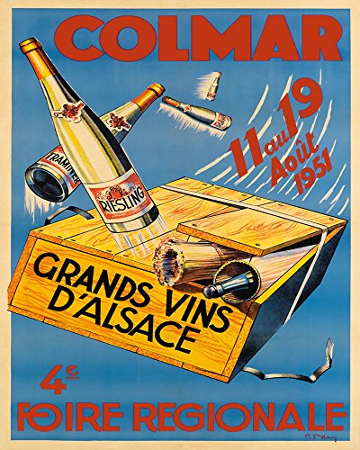 CANVAS Colmar Riesling White Red 1951 Wine France French Drink Bar Restaurant Vintage Poster Repro 11