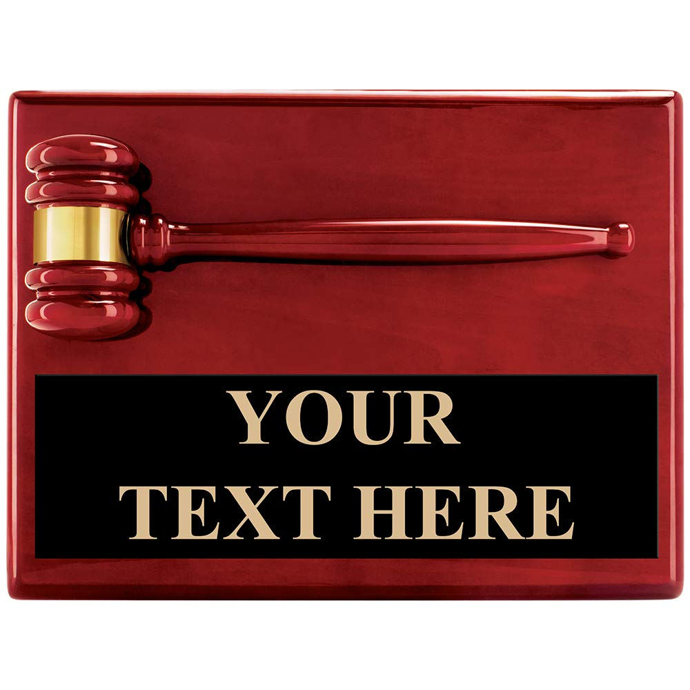 Customizable Rosewood Gavel Plaque Award - 9''x12'' Rosewood Gavel Gift Includes Free Personalization Prime