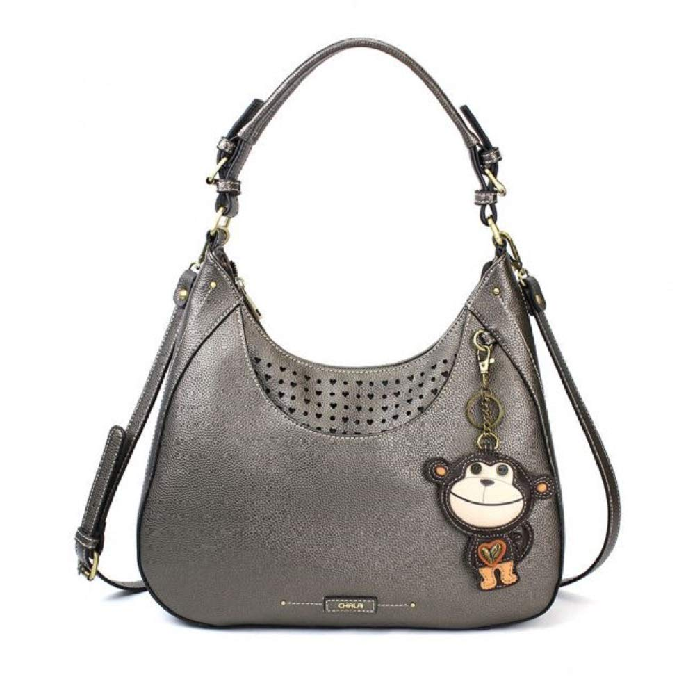Chala Sweet Tote Hobo MONKEY Pewter Grey Gray Crossbody Shoulder Bag Large