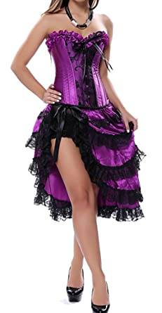 cdd9f0c6761 Colyanda Women s Sexy Satin Overbust Lace Up Burlesque Corset with Dress Set (Purple ...