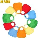 TuffGear Waterproof Baby Bibs with Snaps: Unisex Baby Drool Bibs Gift Set 10 Pack (5 Colors)