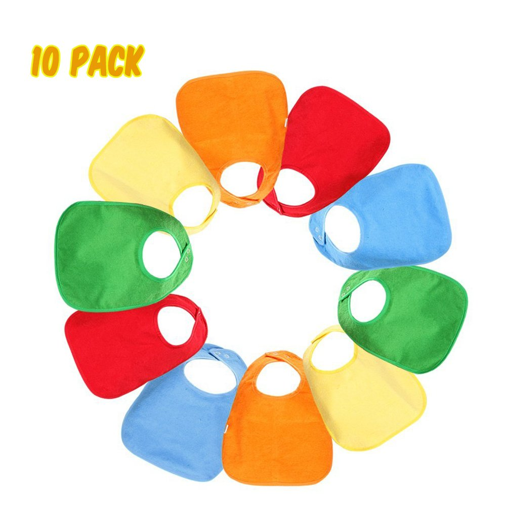 TuffGear Waterproof Baby Bibs with Snaps: Unisex Baby Drool Bibs Gift Set 10 Pack (5 Colors) TG TuffGear
