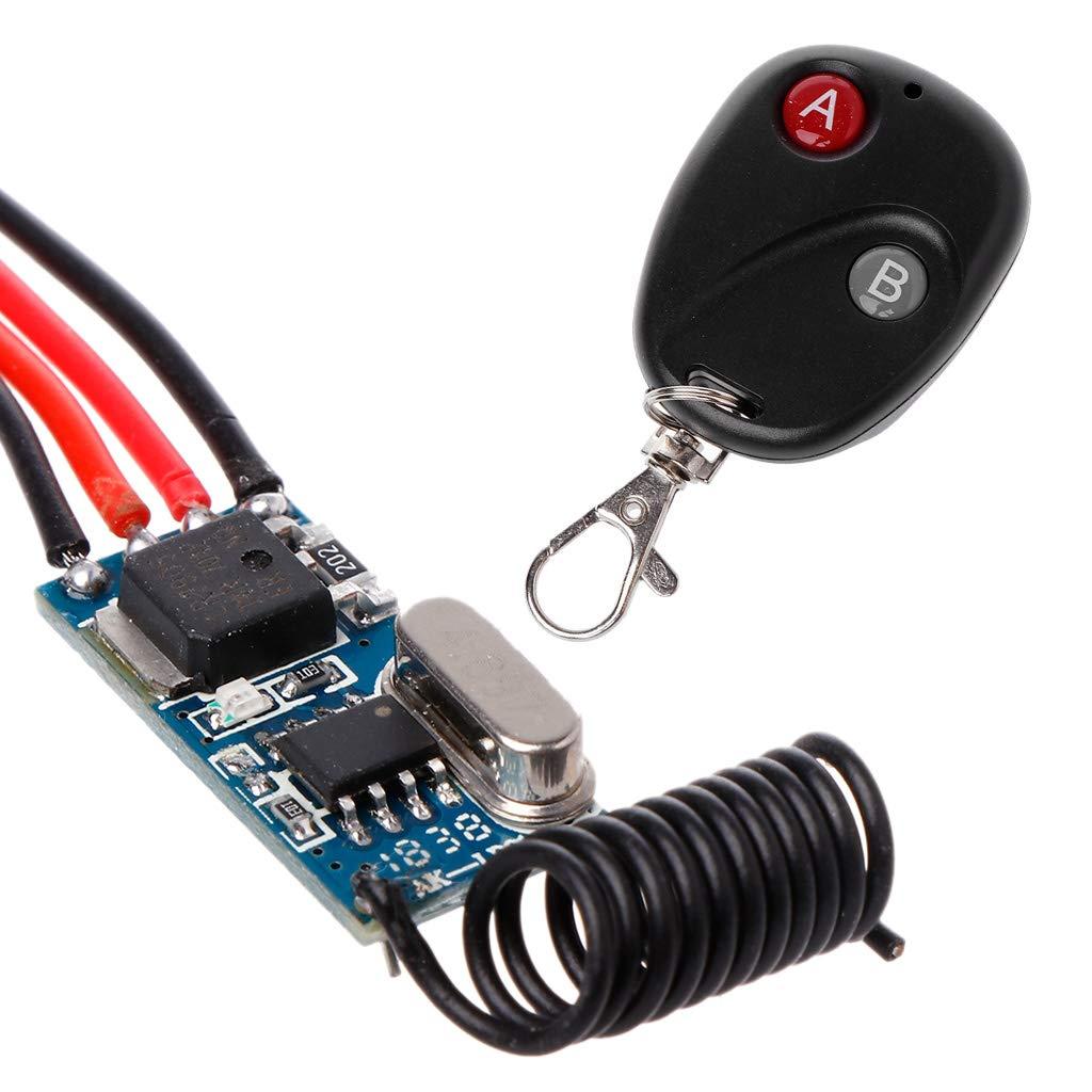 ZOUCY Rel/é Interruptor Inal/ámbrico Control Remoto DC3V 3.7V 5V 6V 7V 9V 12V Mini Potencia Controlador de L/ámpara LED Micro Receptor Transmisor Sistema 433MHz