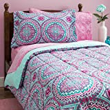 Teal and Purple Comforter Sets 8 Piece Girls Hippie Comforter Twin Set, Multi Floral Bohemian Bedding, Teal Blue Purple Pink Floral Prints, Indie Inspired Hippy Spirit, Damask Flowers, Geometric Accents, Beautiful Pattern, Vibrant