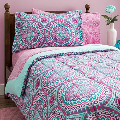 11 Piece Girls Hippie Comforter Full Set, Multi Floral Bohemian Bedding, Teal Blue Purple Pink Floral Prints, Indie Inspired Hippy Spirit, Damask Flowers, Geometric Accents, Beautiful Pattern, Vibrant (Comforters Pink And Blue)