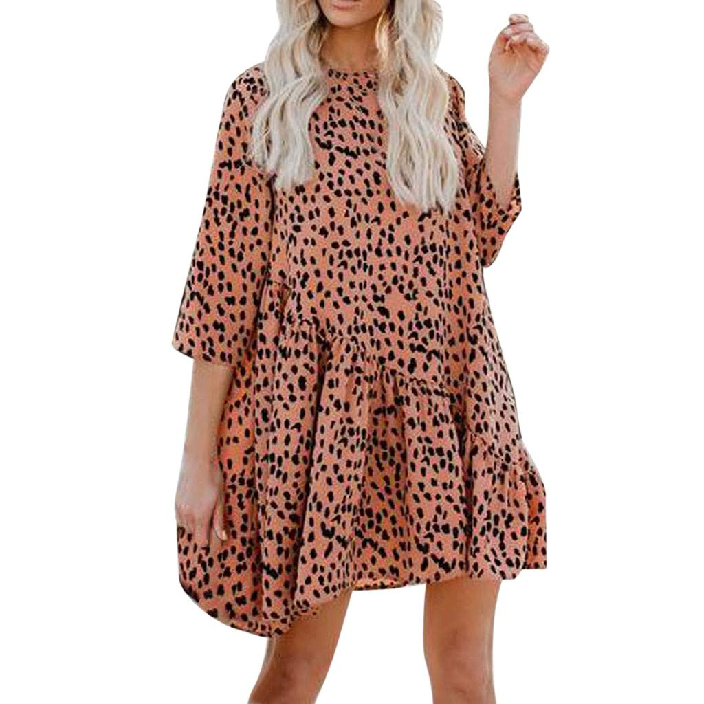 Keliay Dress for Women Summer,Fashion Womens Print O-Neck Club Party Cocktail Mini Dress Orange by Keliay