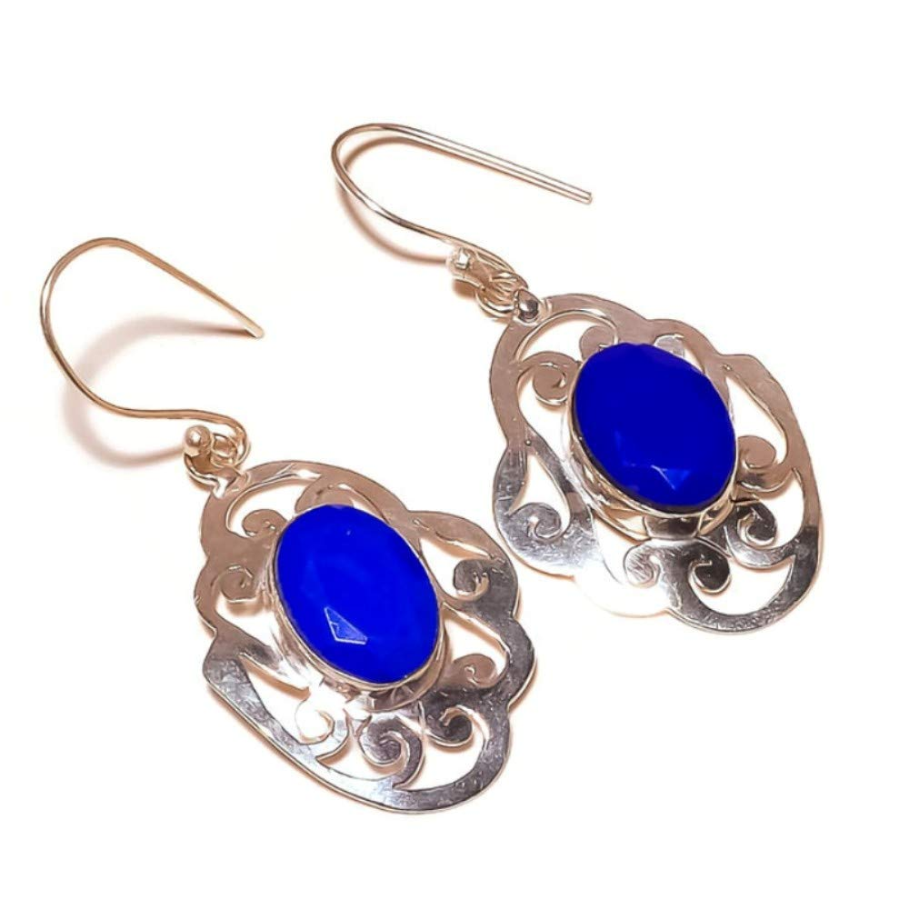 jaivav Blue Onyx Oval Cut Gemstone Silver Plated Handmade Filigree Drop Dangle Earrings