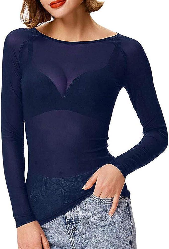 Blusas Transparentes Mujer, Lunule Camiseta de Malla de Manga Larga de Mujer Casual Camisa Blusas Top para Mujer: Amazon.es: Ropa y accesorios